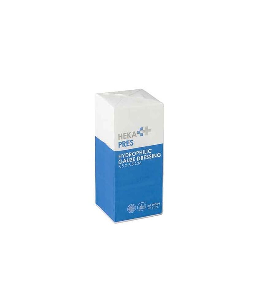 Heka Pres hydrofiel gaaskompres 7,5 x 7,5 cm niet steriel – 12 lagen pakje