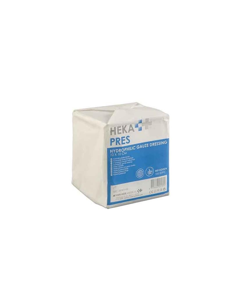 HEKA pres hydrofiel gaaskompres 10 x 10 cm niet steriel - 8 lagen