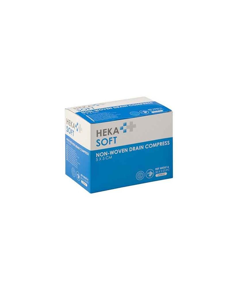 HEKA soft non-woven drainkompres 5 x 5 cm steriel - 4 lagen