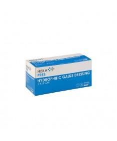 HEKA pres hydrofiel gaaskompres 5 x 5 cm steriel - 12 lagen - Doos